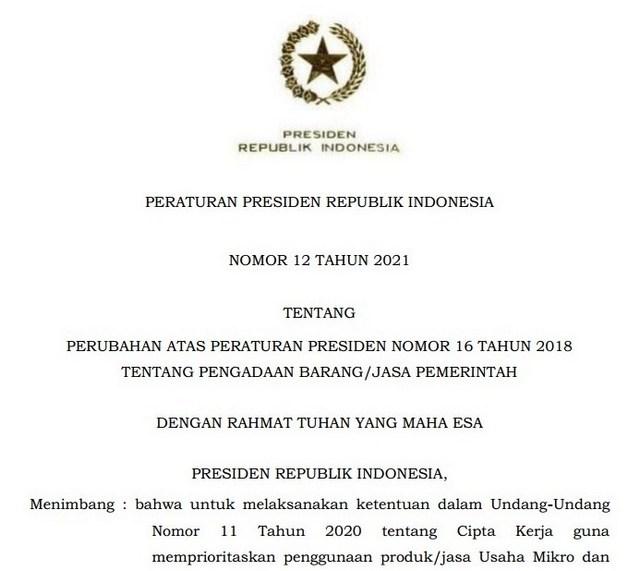 Bimtek Perpres Nomor 12 Tahun 2021 tentang Pengadaan Barang Jasa Pemerintah